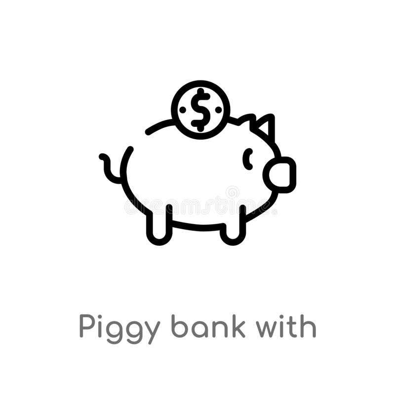 outline piggy bank with coin vector icon. isolated black simple line element illustration from commerce concept. editable vector royalty free illustration