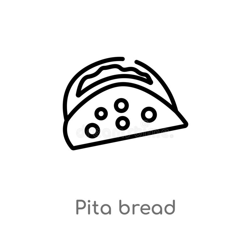 outline pita bread vector icon. isolated black simple line element illustration from bistro and restaurant concept. editable vector illustration
