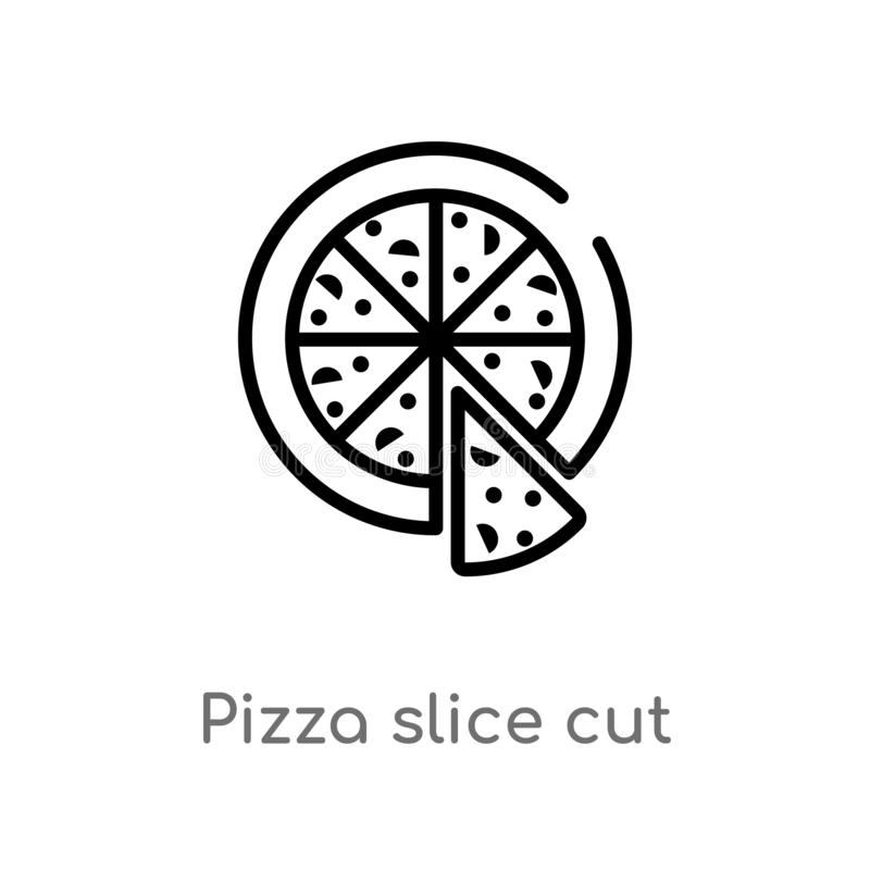 Outline pizza slice cut vector icon. isolated black simple line element illustration from food concept. editable vector stroke. Pizza slice cut icon on white stock illustration