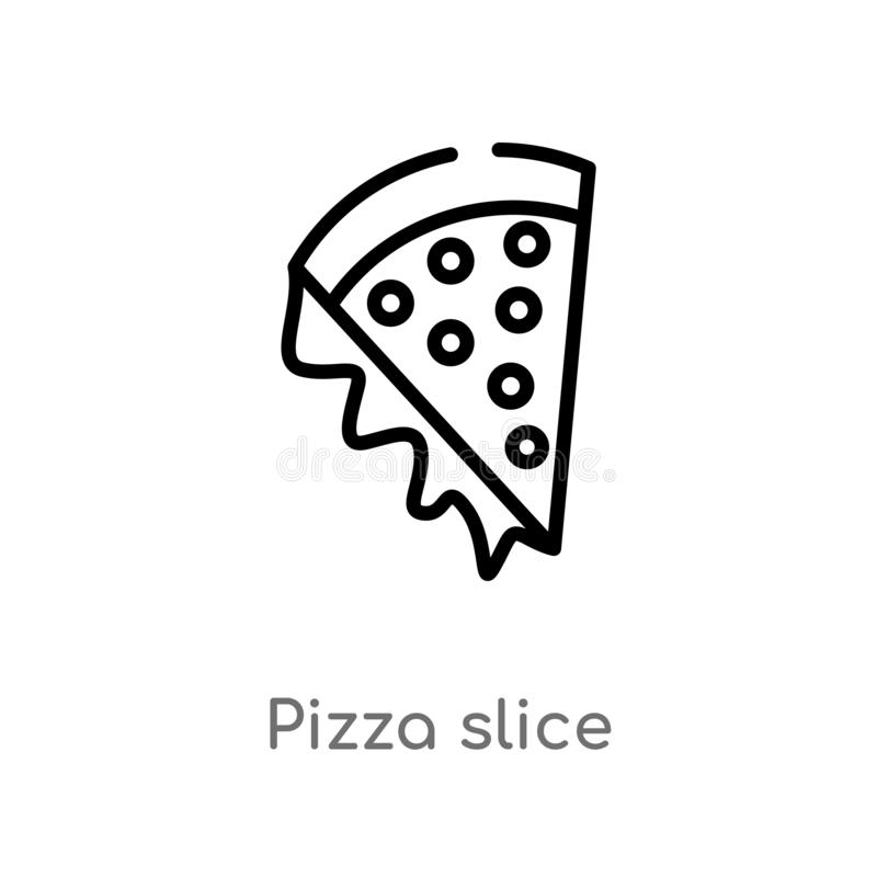 Outline pizza slice vector icon. isolated black simple line element illustration from party concept. editable vector stroke pizza. Slice icon on white stock illustration