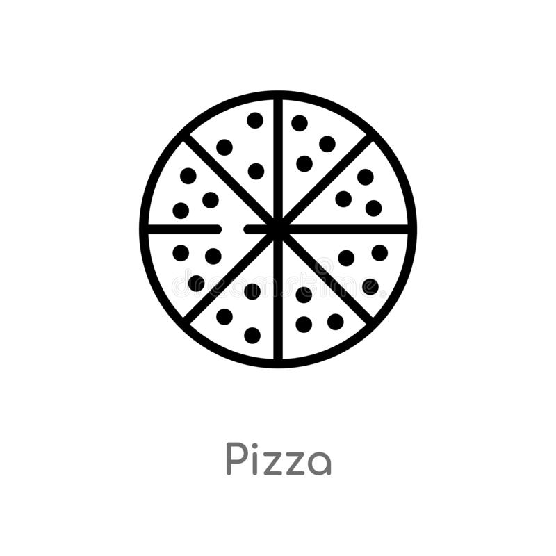 outline pizza vector icon. isolated black simple line element illustration from health concept. editable vector stroke pizza icon vector illustration