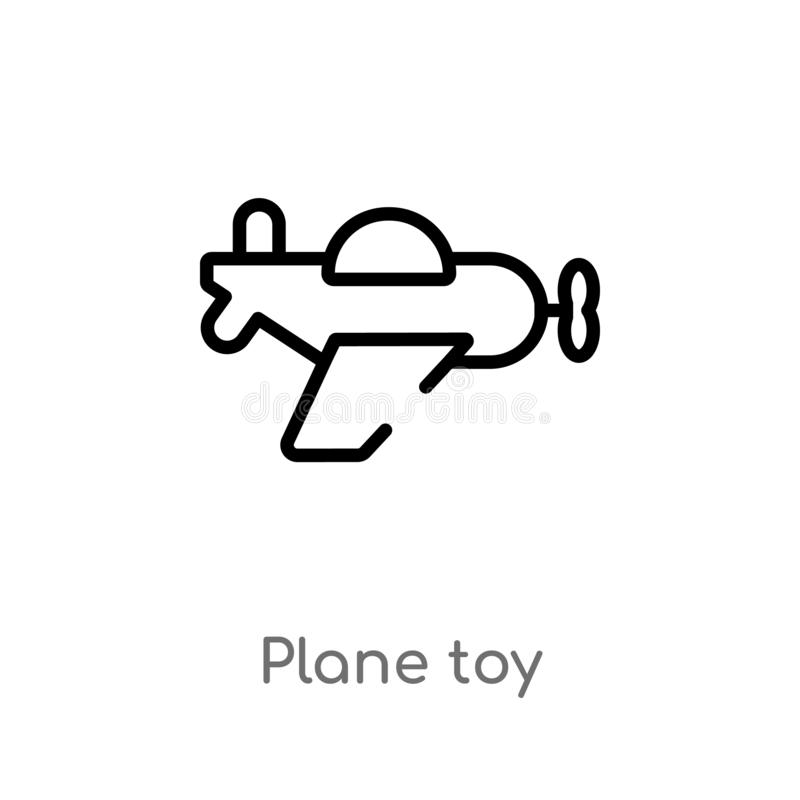 Outline plane toy vector icon. isolated black simple line element illustration from toys concept. editable vector stroke plane toy. Icon on white background stock illustration