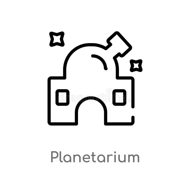 Outline planetarium vector icon. isolated black simple line element illustration from astronomy concept. editable vector stroke. Planetarium icon on white stock illustration