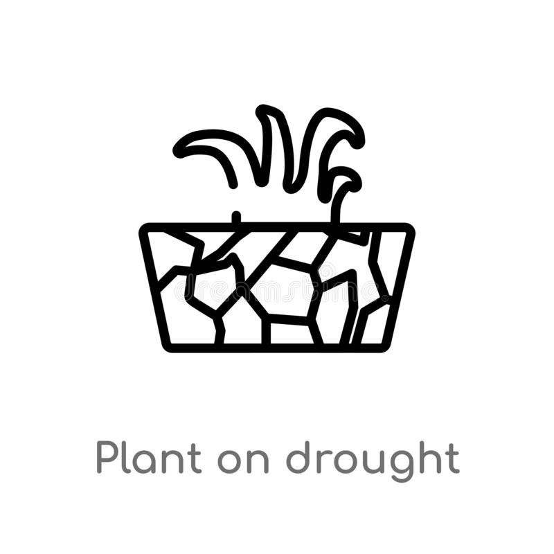 outline plant on drought vector icon. isolated black simple line element illustration from meteorology concept. editable vector stock illustration