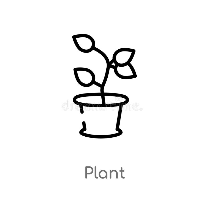 outline plant vector icon. isolated black simple line element illustration from nature concept. editable vector stroke plant icon vector illustration