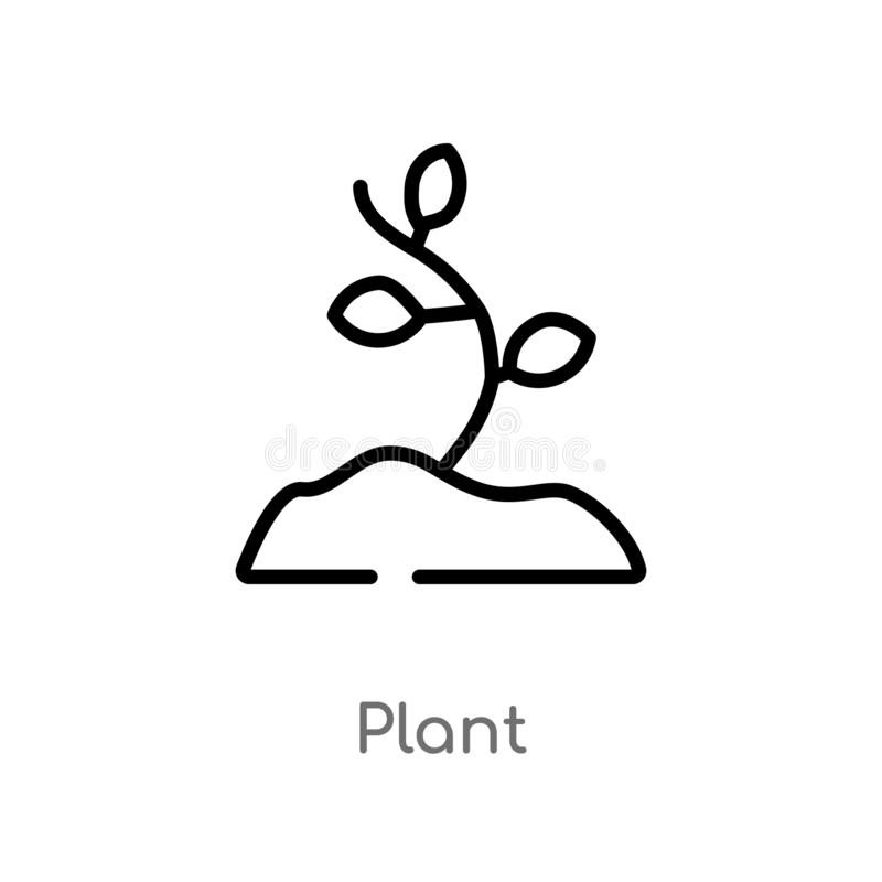 outline plant vector icon. isolated black simple line element illustration from stone age concept. editable vector stroke plant royalty free illustration