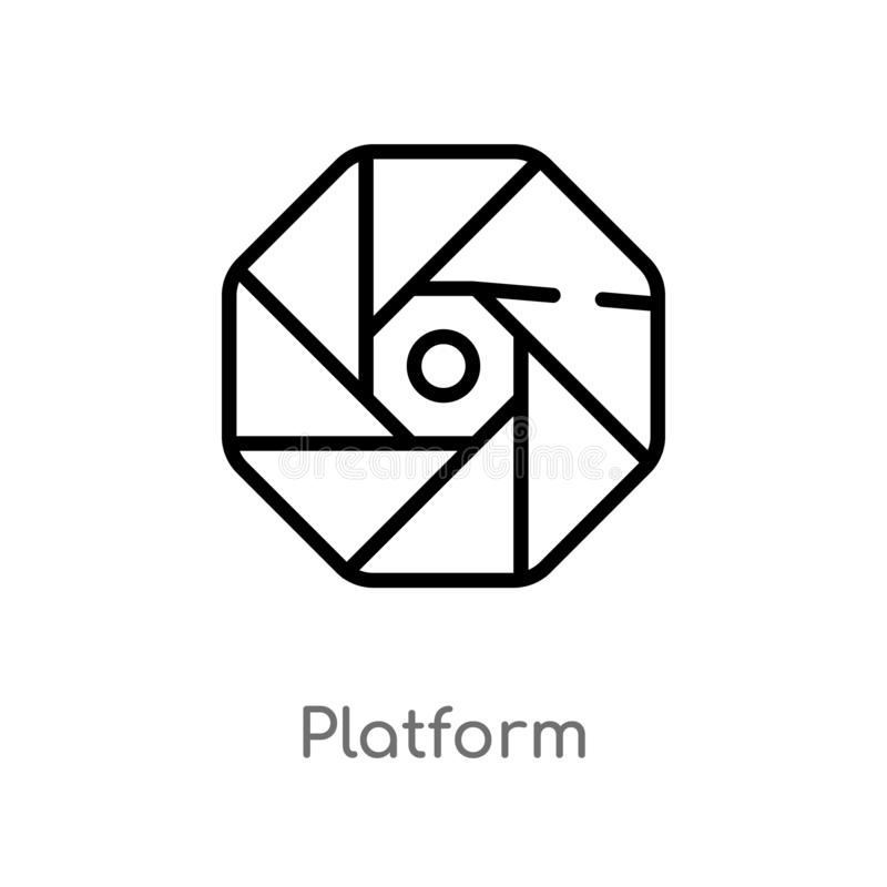 Outline platform vector icon. isolated black simple line element illustration from logo concept. editable vector stroke platform. Icon on white background stock illustration