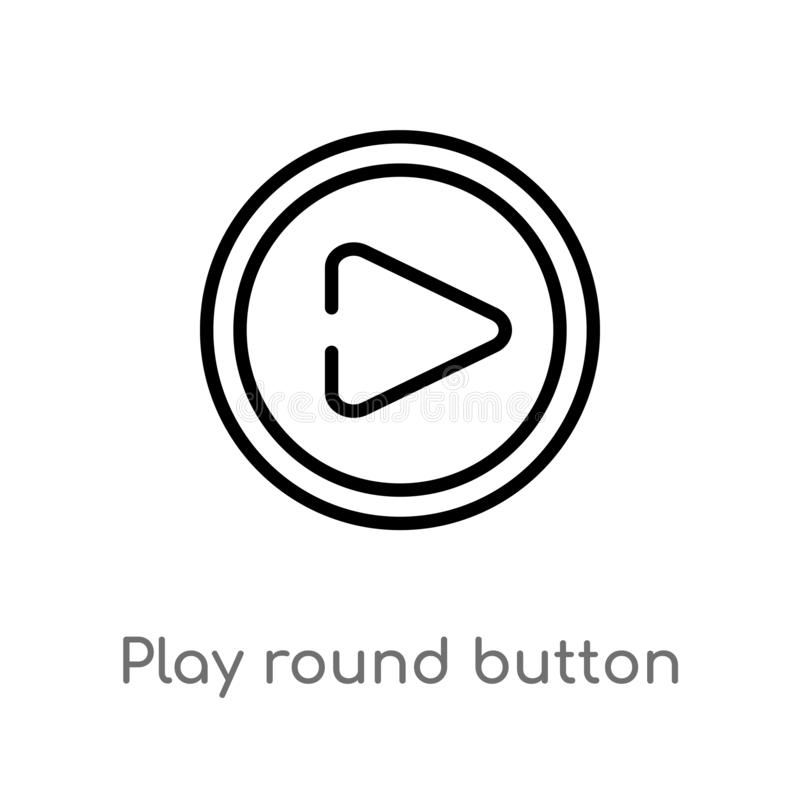 Outline play round button vector icon. isolated black simple line element illustration from logo concept. editable vector stroke. Play round button icon on stock illustration
