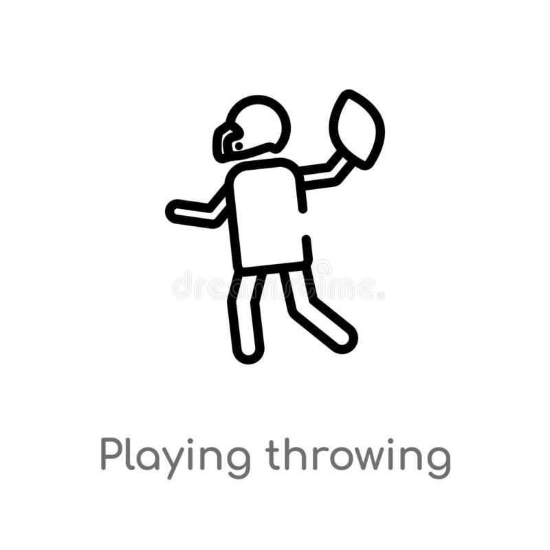 Outline playing throwing the ball in his hand vector icon. isolated black simple line element illustration from american football. Concept. editable vector royalty free illustration
