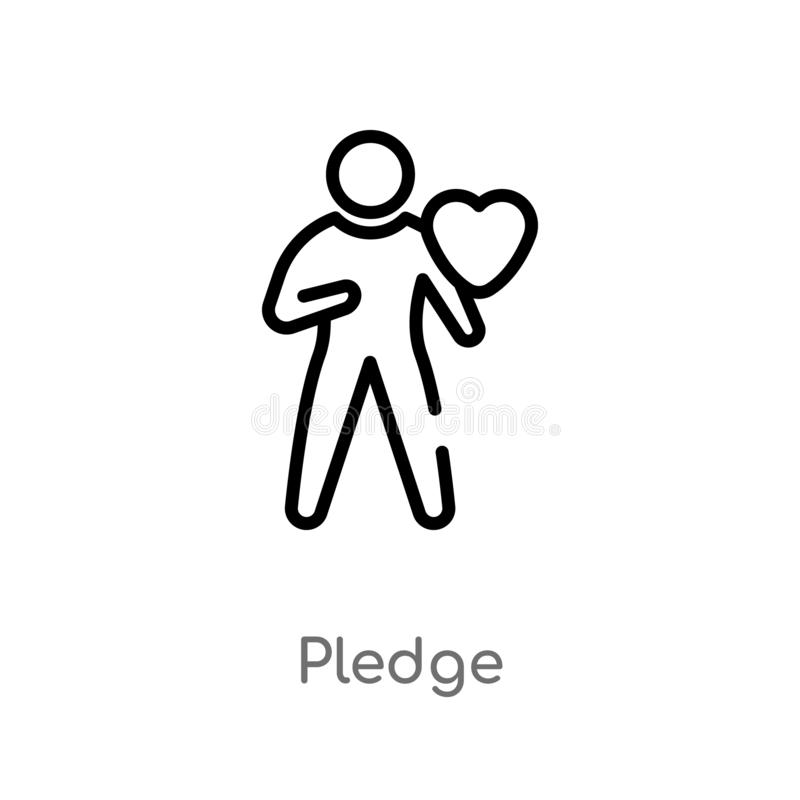 Outline pledge vector icon. isolated black simple line element illustration from crowdfunding concept. editable vector stroke. Pledge icon on white background vector illustration