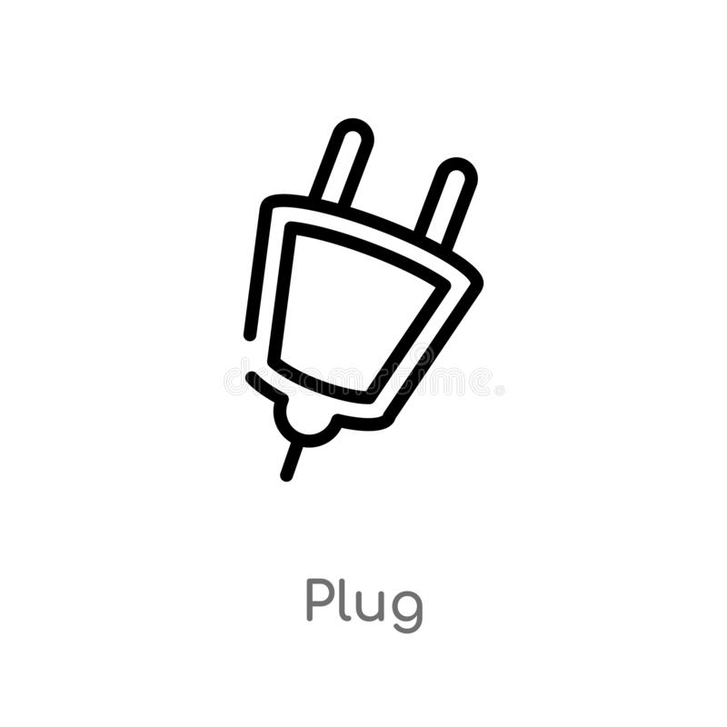 outline plug vector icon. isolated black simple line element illustration from signs concept. editable vector stroke plug icon on royalty free illustration