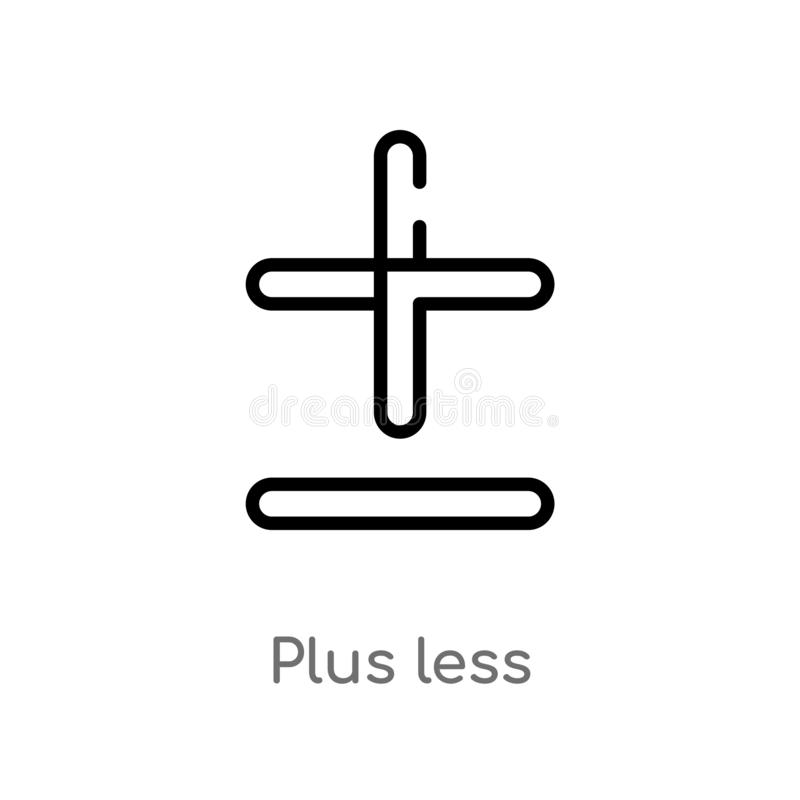outline plus less vector icon. isolated black simple line element illustration from signs concept. editable vector stroke plus stock illustration