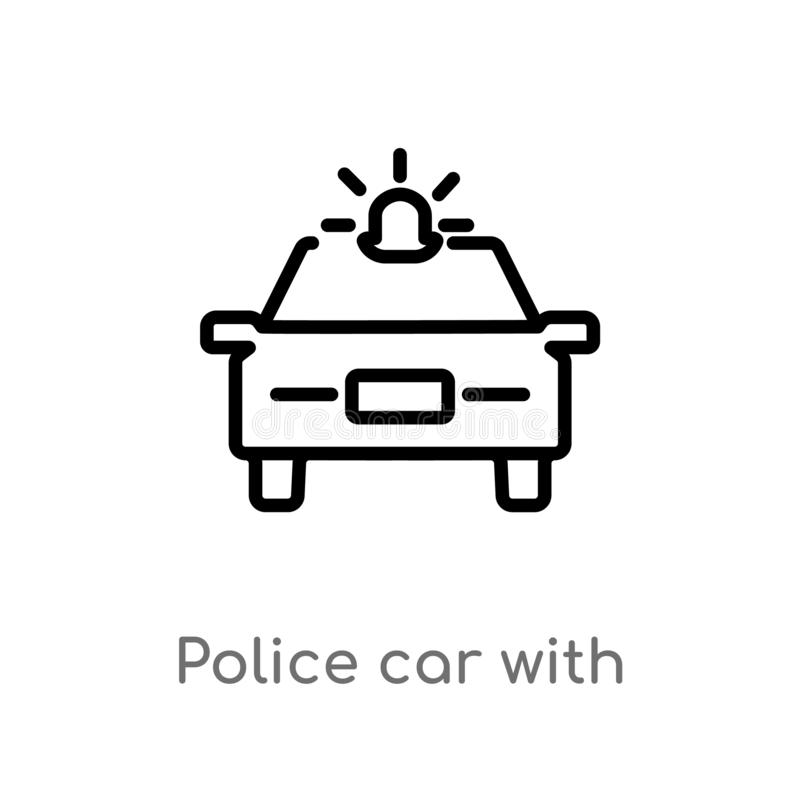 outline police car with light vector icon. isolated black simple line element illustration from mechanicons concept. editable vector illustration