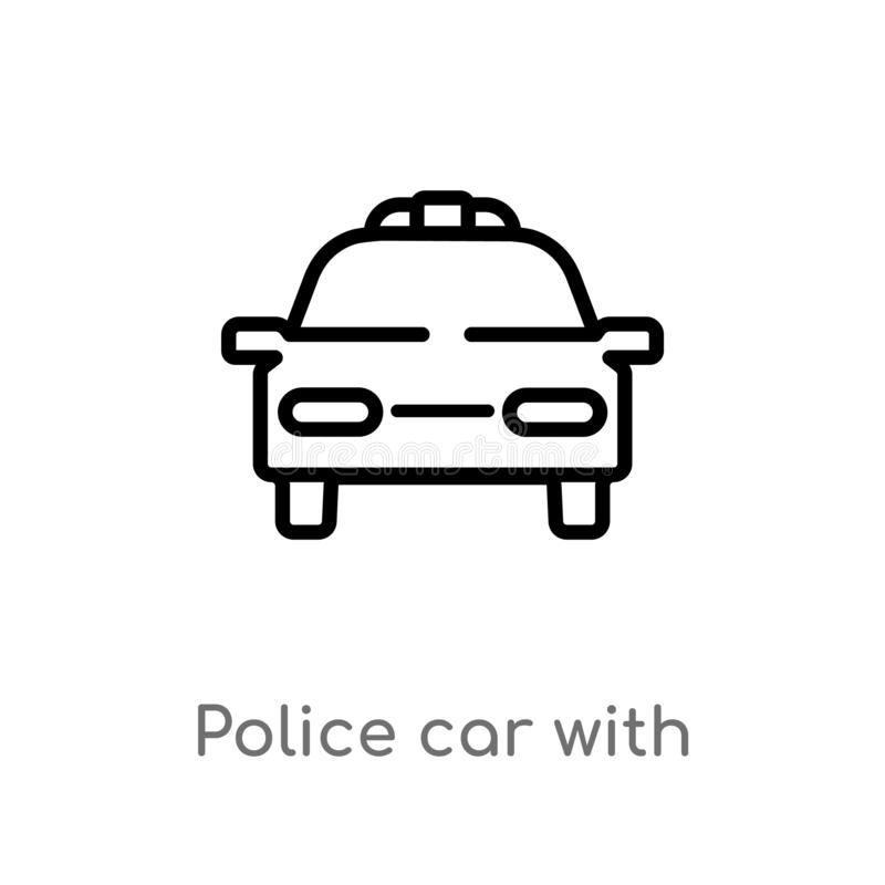 Outline police car with lights vector icon. isolated black simple line element illustration from mechanicons concept. editable. Vector stroke police car with royalty free illustration