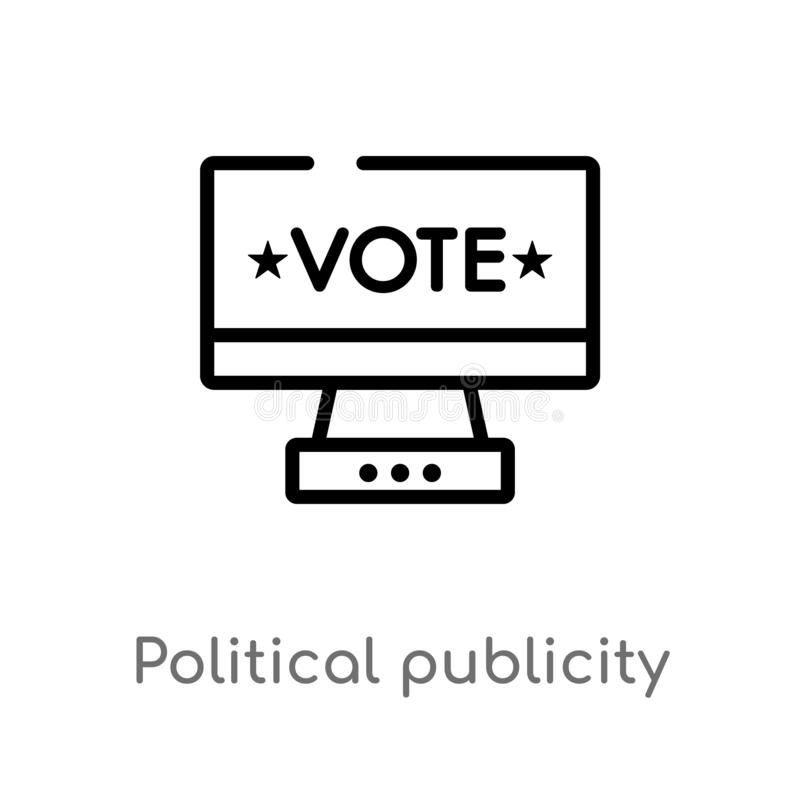 Outline political publicity on monitor screen vector icon. isolated black simple line element illustration from political concept. Editable vector stroke royalty free illustration