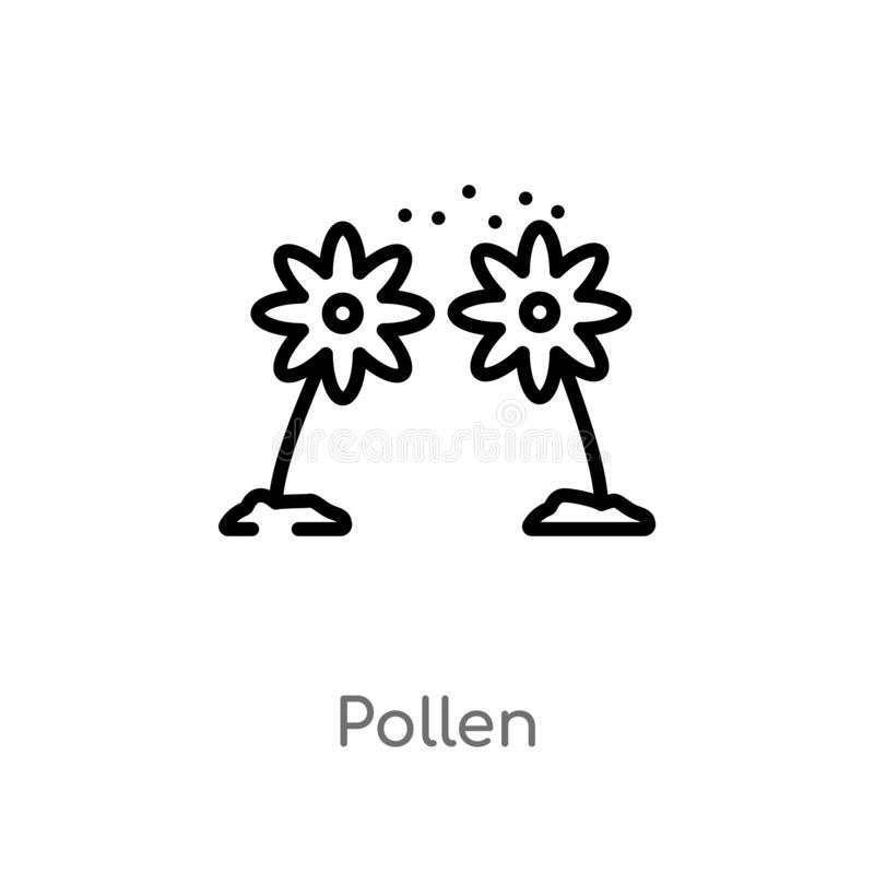 Outline pollen vector icon. isolated black simple line element illustration from nature concept. editable vector stroke pollen. Icon on white background vector illustration