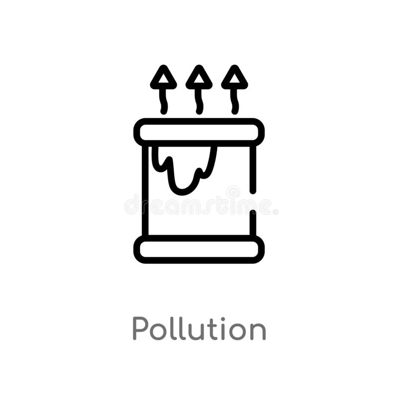 outline pollution vector icon. isolated black simple line element illustration from ecology concept. editable vector stroke royalty free illustration
