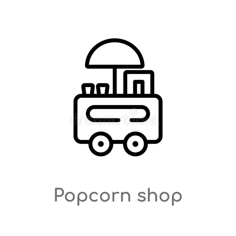 outline popcorn shop vector icon. isolated black simple line element illustration from food concept. editable vector stroke vector illustration