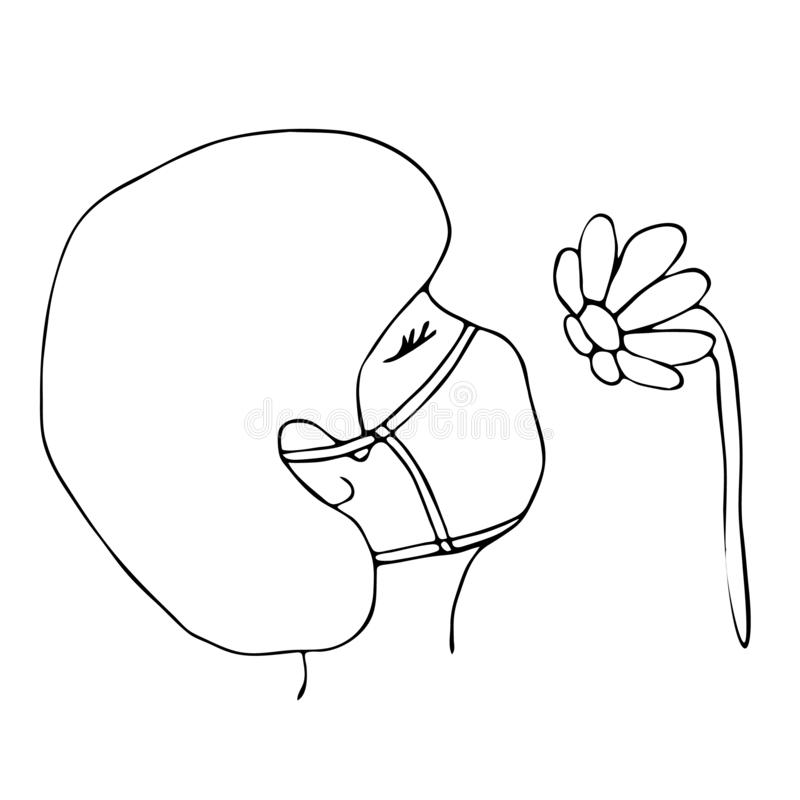 Outline portrait of allergy woman in medical mask suffering from allergies. Flower is her allergen.Girl snif red flower. Seasonal stock illustration