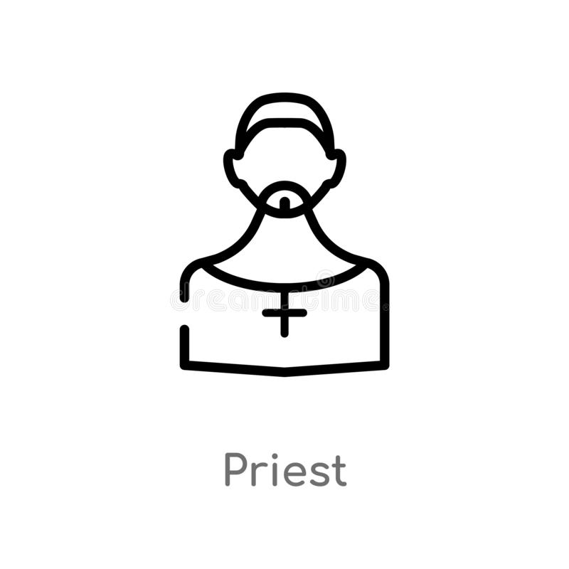 outline priest vector icon. isolated black simple line element illustration from job profits concept. editable vector stroke royalty free illustration
