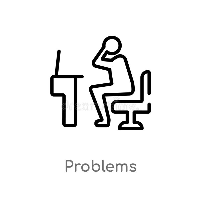 outline problems vector icon. isolated black simple line element illustration from job resume concept. editable vector stroke stock illustration