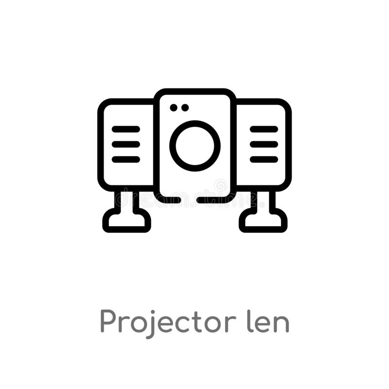 outline projector len vector icon. isolated black simple line element illustration from multimedia concept. editable vector stroke stock illustration