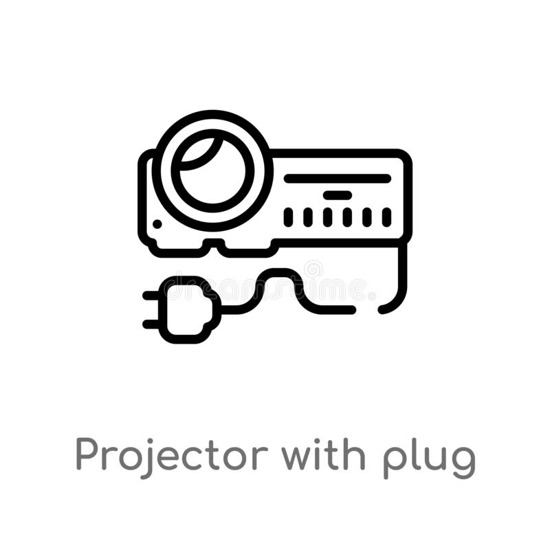 outline projector with plug vector icon. isolated black simple line element illustration from cinema concept. editable vector stock illustration
