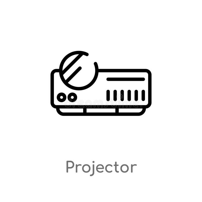 Outline projector vector icon. isolated black simple line element illustration from electronic devices concept. editable vector. Stroke projector icon on white royalty free illustration