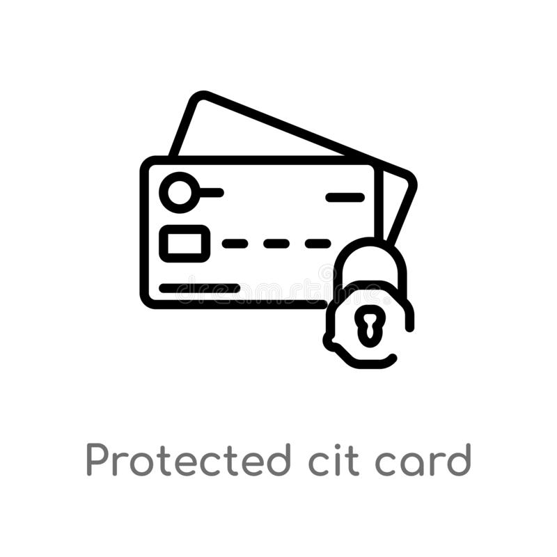 Outline protected cit card vector icon. isolated black simple line element illustration from security concept. editable vector. Stroke protected cit card icon vector illustration
