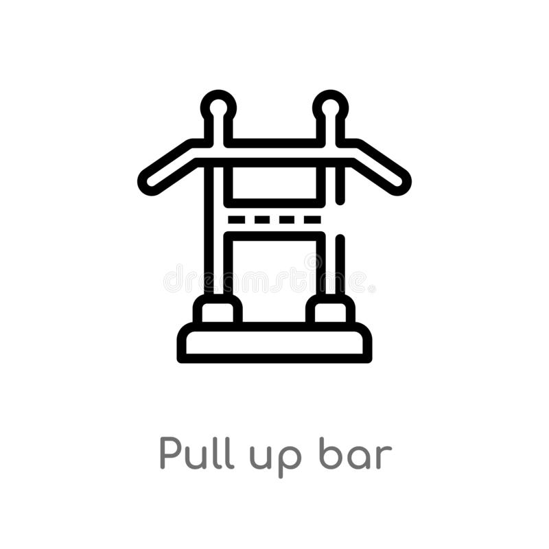 Outline pull up bar vector icon. isolated black simple line element illustration from gym equipment concept. editable vector. Stroke pull up bar icon on white royalty free illustration