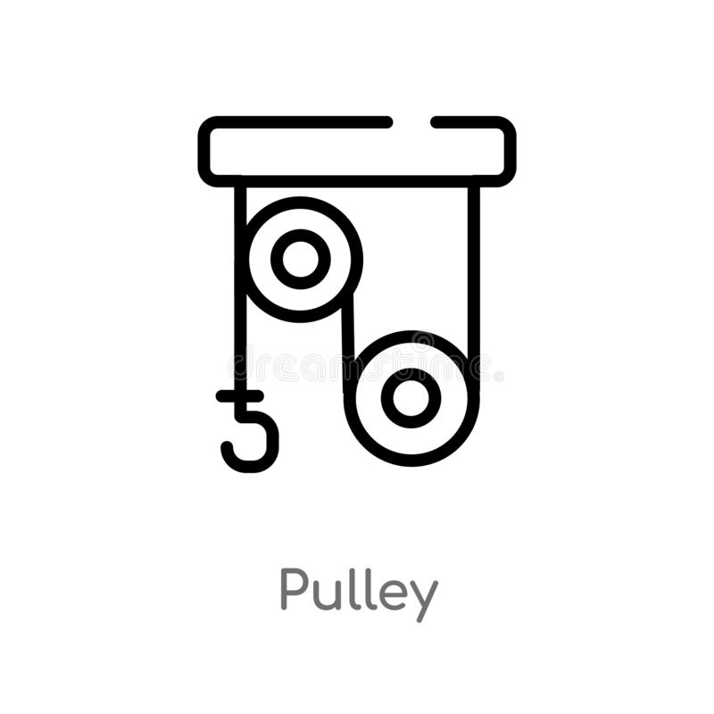 outline pulley vector icon. isolated black simple line element illustration from science concept. editable vector stroke pulley stock illustration