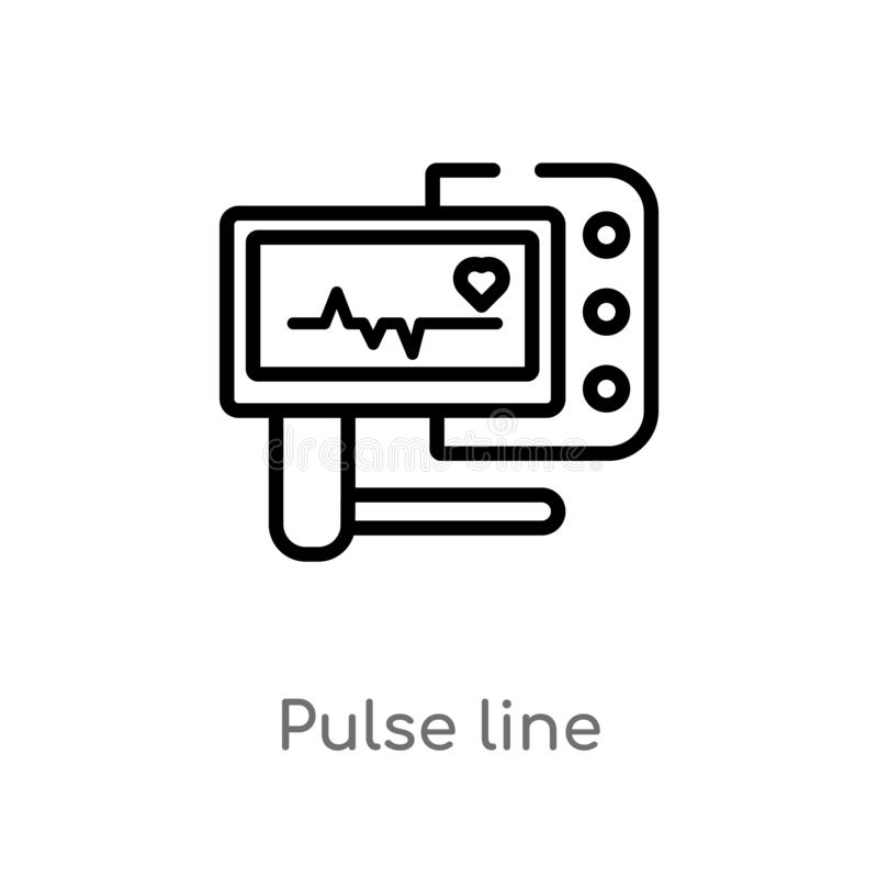 outline pulse line vector icon. isolated black simple line element illustration from medical concept. editable vector stroke pulse stock illustration