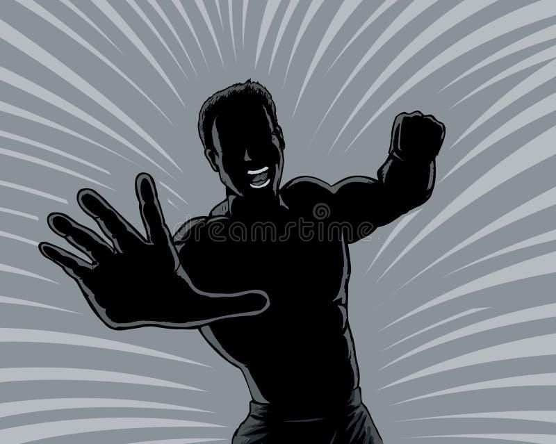 Outline punching man stock illustration
