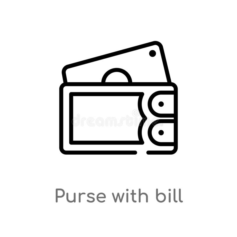 outline purse with bill vector icon. isolated black simple line element illustration from airport terminal concept. editable stock illustration