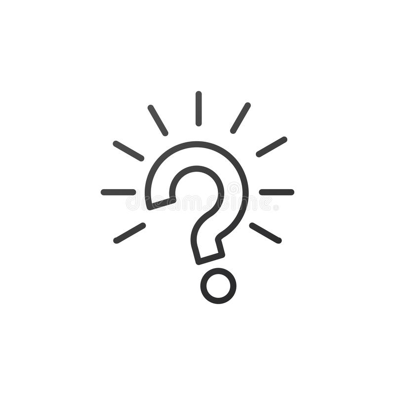 Outline question mark with rays burst icon vector illustration on white background royalty free illustration
