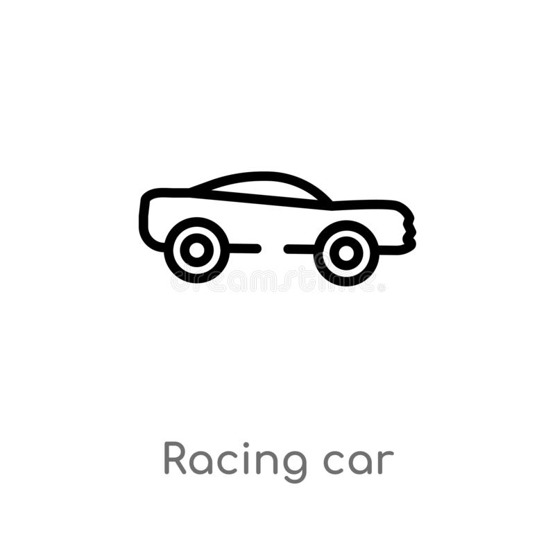 Outline racing car vector icon. isolated black simple line element illustration from transportation concept. editable vector. Stroke racing car icon on white stock illustration