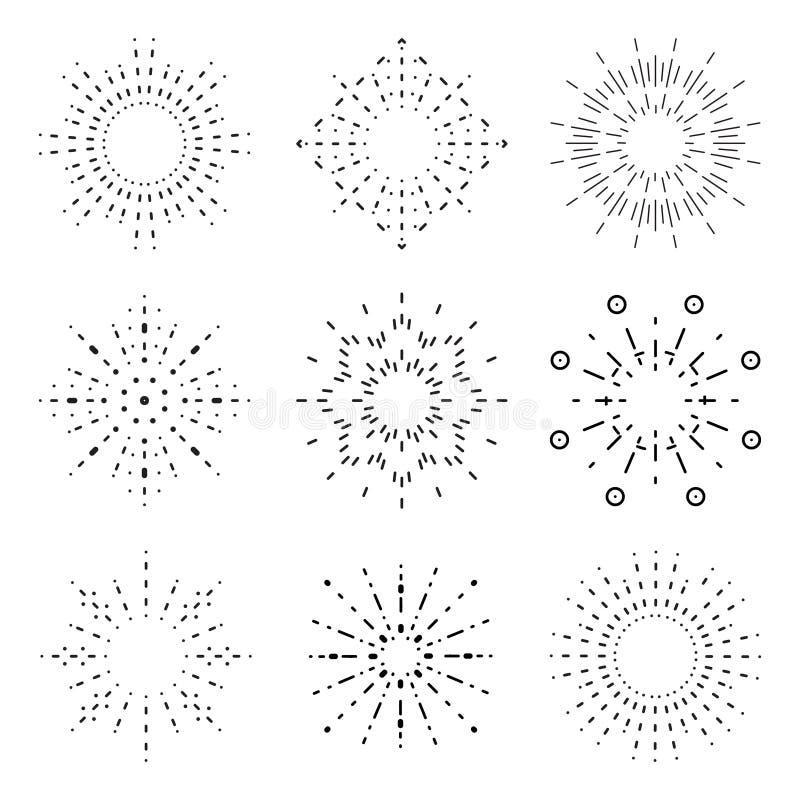 Outline radiant sunburst icons set vector illustration. Outline radiant sunburst icon set vector illustration stock illustration