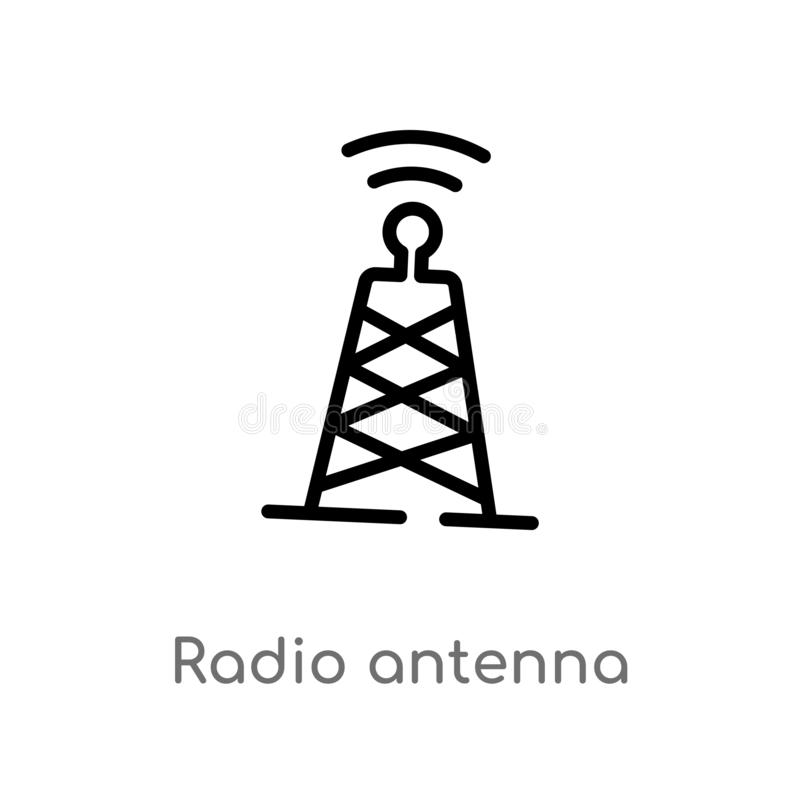 outline radio antenna vector icon. isolated black simple line element illustration from communication concept. editable vector vector illustration