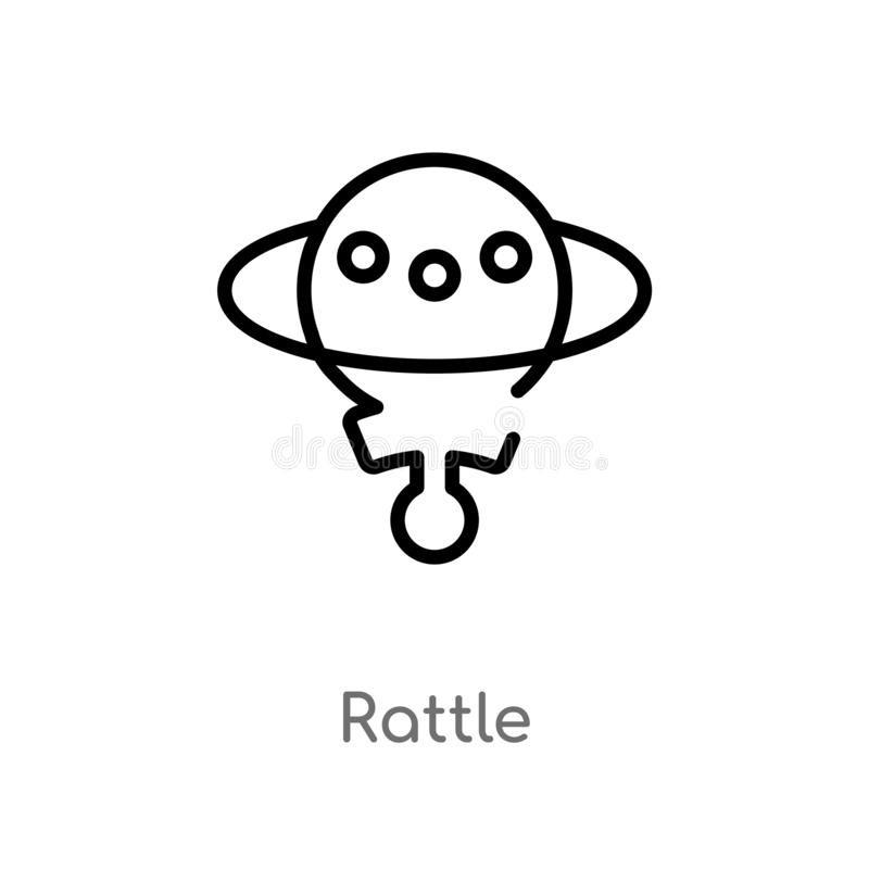 outline rattle vector icon. isolated black simple line element illustration from brazilia concept. editable vector stroke rattle royalty free illustration