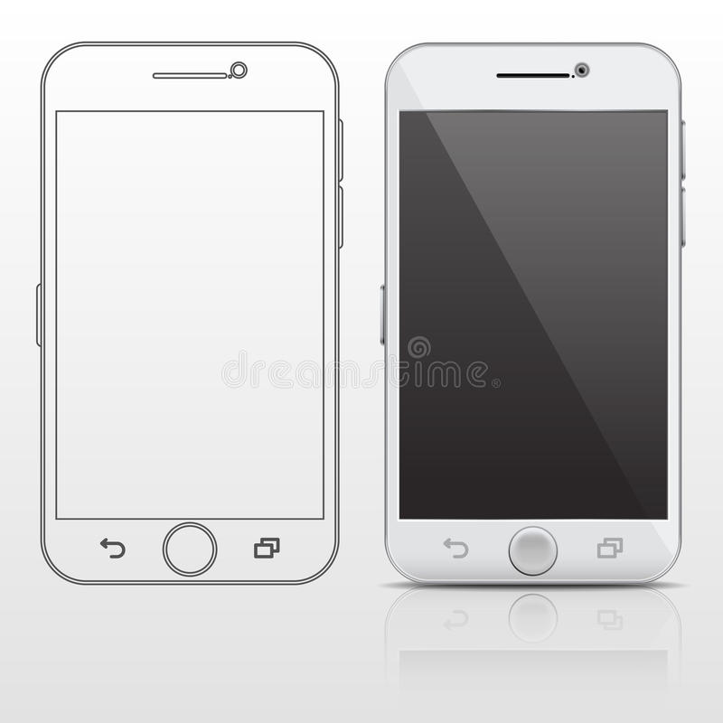 Outline and realistic smartphone, cell phone vector design template in thin line style. Screen gadget phone and digital smart phone portable illustration vector illustration