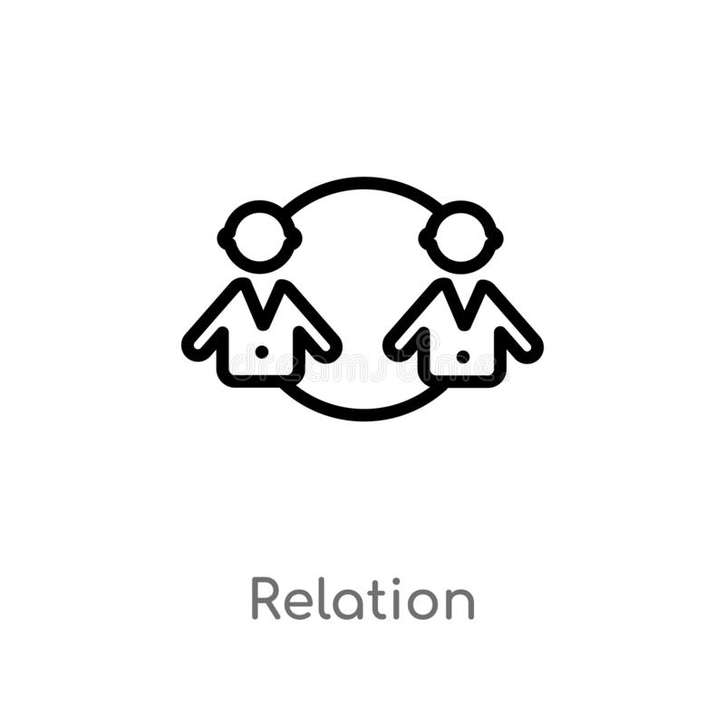 Outline relation vector icon. isolated black simple line element illustration from people concept. editable vector stroke relation. Icon on white background vector illustration
