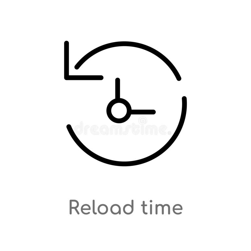 outline reload time vector icon. isolated black simple line element illustration from arrows concept. editable vector stroke royalty free illustration