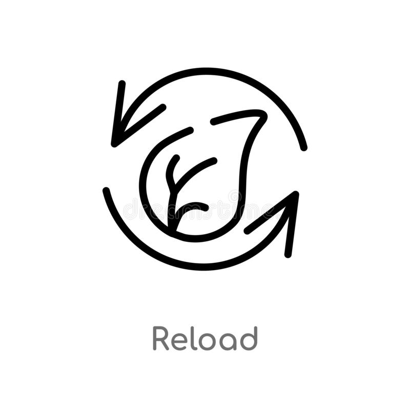 outline reload vector icon. isolated black simple line element illustration from ecology concept. editable vector stroke reload vector illustration