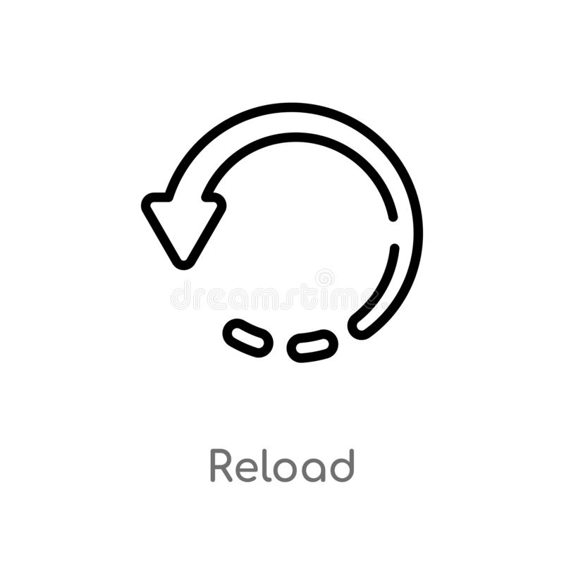 outline reload vector icon. isolated black simple line element illustration from user interface concept. editable vector stroke royalty free illustration