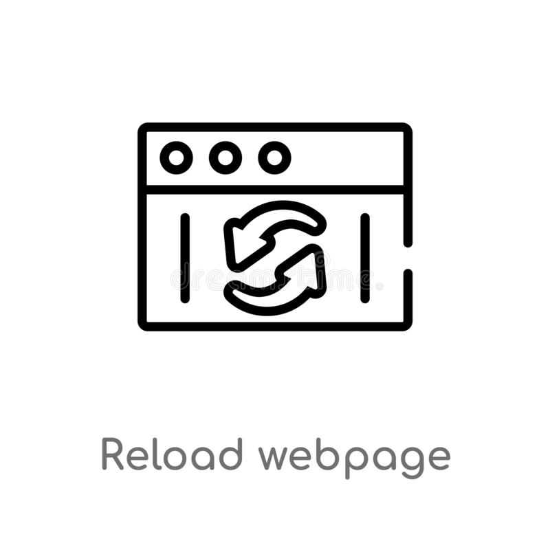 outline reload webpage vector icon. isolated black simple line element illustration from user interface concept. editable vector vector illustration