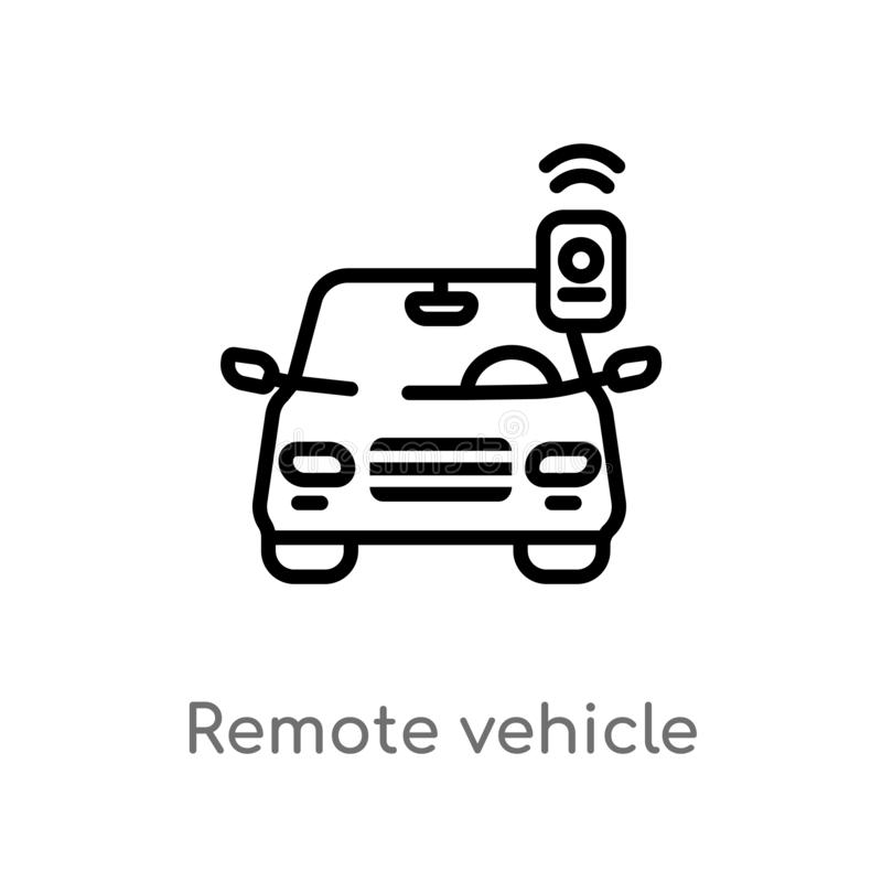 outline remote vehicle vector icon. isolated black simple line element illustration from smart home concept. editable vector royalty free illustration