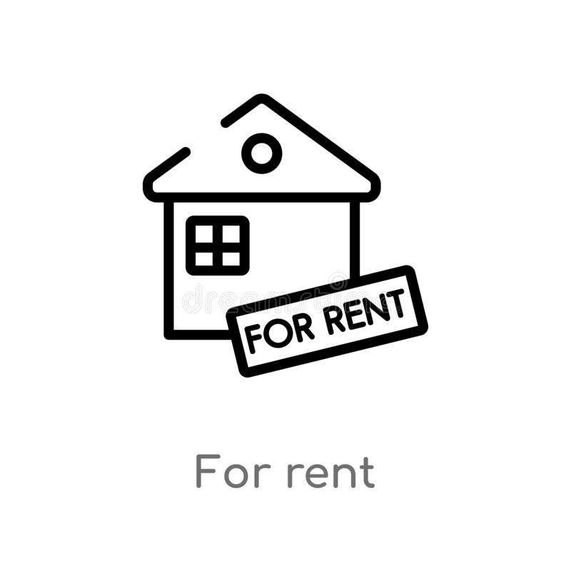 outline for rent vector icon. isolated black simple line element illustration from real estate concept. editable vector stroke for royalty free illustration