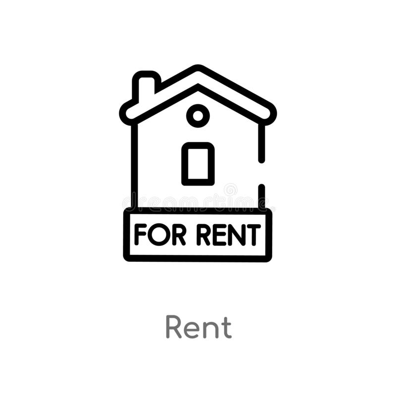 outline rent vector icon. isolated black simple line element illustration from real estate concept. editable vector stroke rent vector illustration
