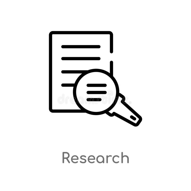 Outline research vector icon. isolated black simple line element illustration from charity concept. editable vector stroke. Research icon on white background royalty free illustration