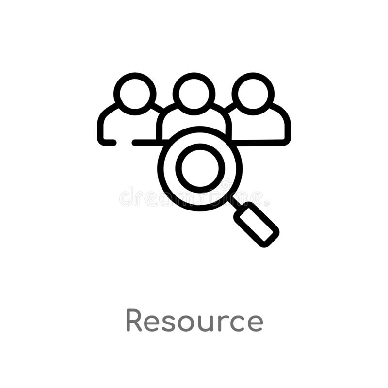 Outline resource vector icon. isolated black simple line element illustration from strategy concept. editable vector stroke. Resource icon on white background vector illustration
